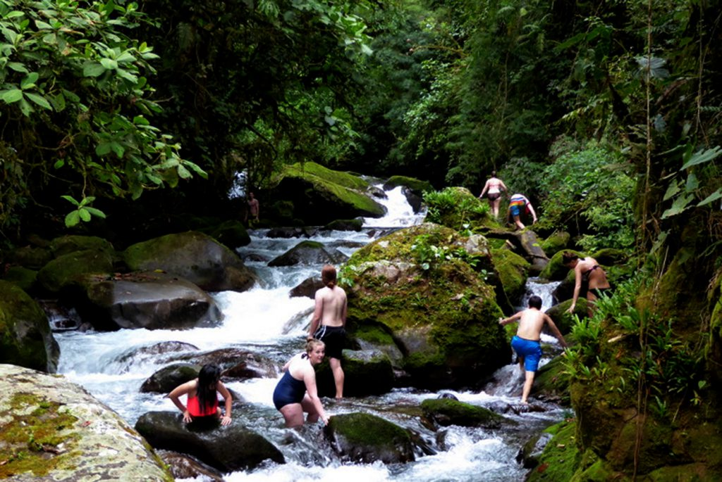 Swimming in the clear water of the Chirripó River is a great way to cool off on a hot day.