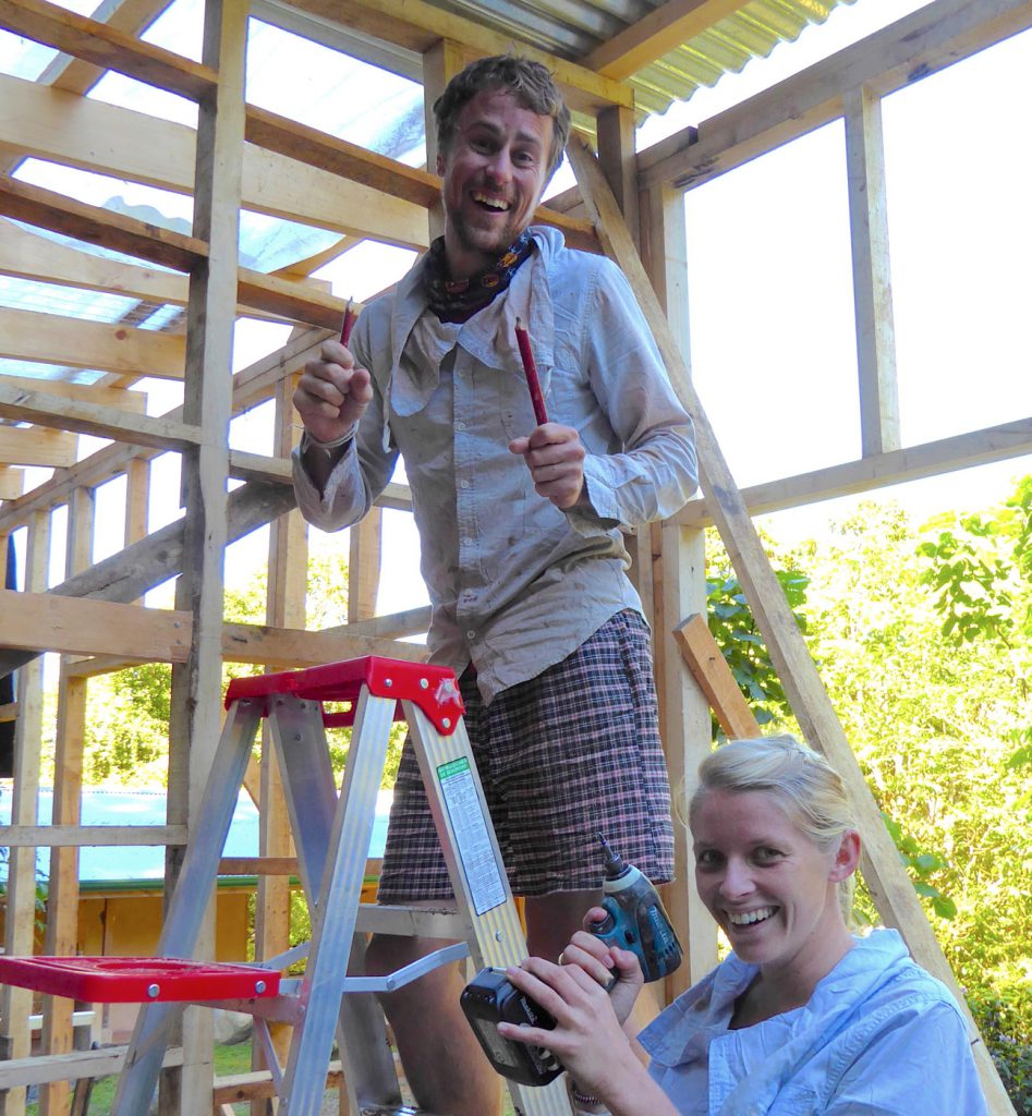 Having fun while building the new dormitory.